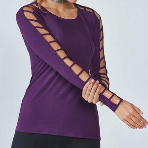 Fabletics Purple Cutout Long Sleeve Evangeline Top